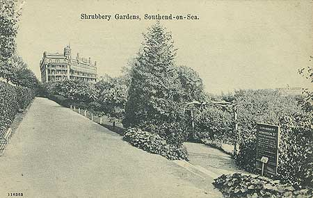 A view of the Shrubbery Gardens. The sign on the right shows an admission fee of 3d to enter. 1900 - 1930, Reproduced by permission of English Heritage.NMR Reference Number: PC08827