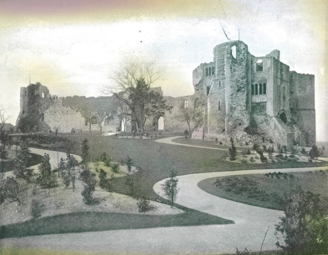 Newark Castle Gardens, from Beautiful Britain, 1894