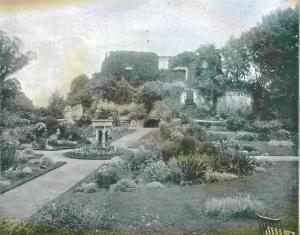 The garden on top of the keep, Farnham Castle, Surrey in c.1890