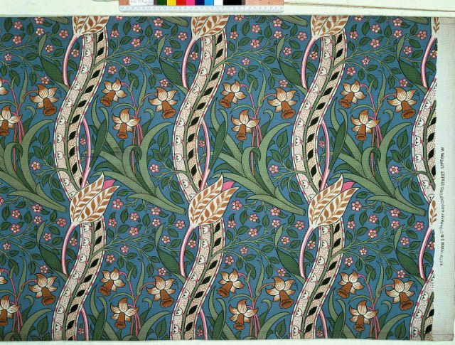 Furnishing fabric designed by John Henry Dearle, c.1891 for William Morris. V&A T.623-1919