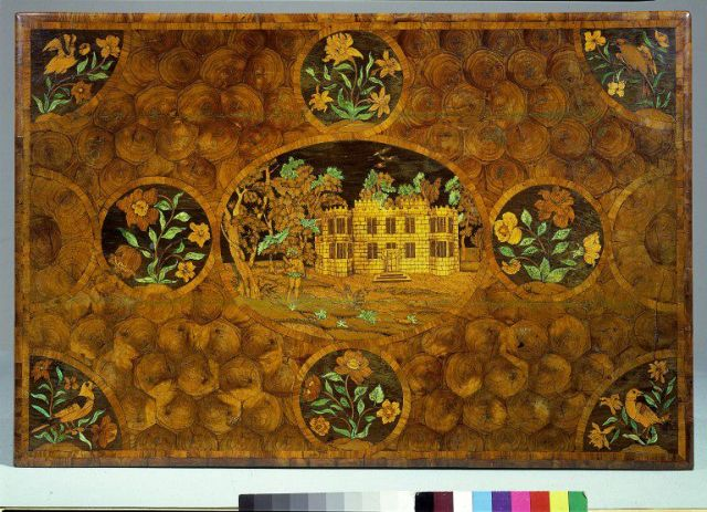 marquetry Table top showing Wingerworth Hall, with insets of roses, anemones and daffodils. c.1674.  V&A  W.53:1, 2-1948