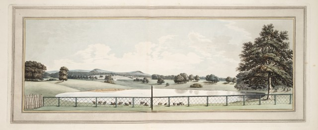 View from the house at Tatton, showing the manner of connecting the two waters; and also the effect of the net fence as a false scale which lessens the sense of the near water. from Sketches and hints on landscape gardening 1794