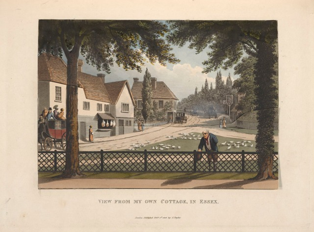 The view from Repton's cottage at Hare Street from Fragments on the theory and practice of landscape gardening, 1816