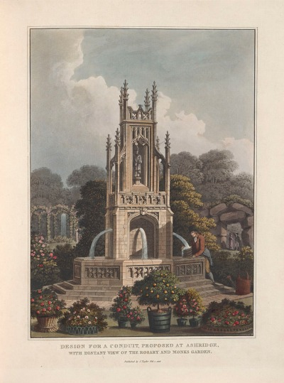 Ashridge fountain [with the Rosary in the background] from Fragments on the theory and practice of landscape gardening, 1816