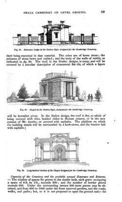 Alternative designs in Gothic and Italian style for the entrance lodges, from John Claudius Loudon, On the Laying Out, Planting and Managing of Cemeteries, 1843