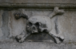 Skull and crossbones from a tombstone in the Huguenot Burial Ground, Wandsworth http://londoncemeteries.co.uk