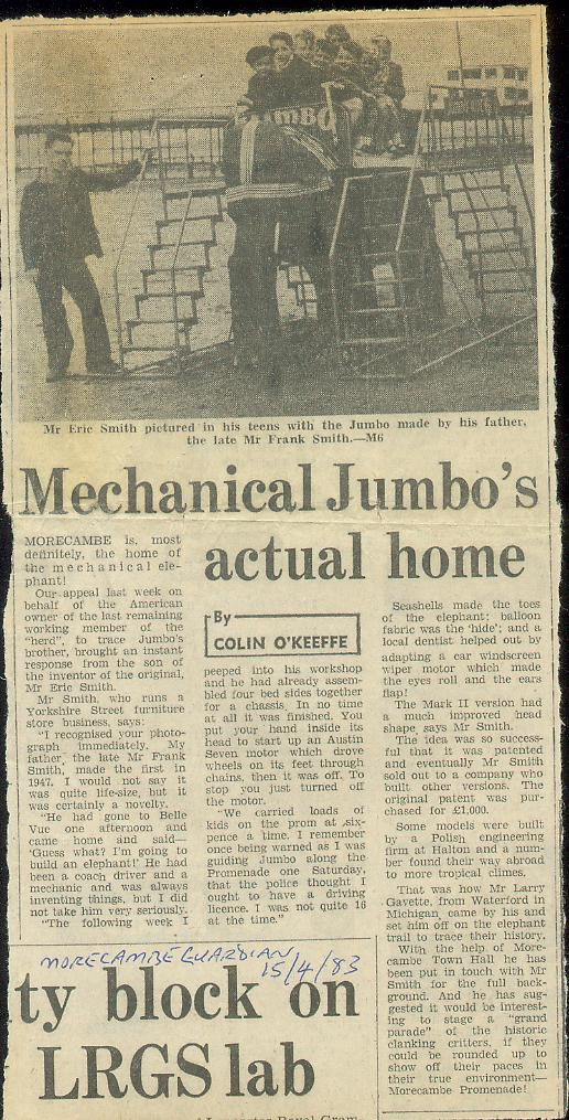 Morecambe Gazette 15th April 1983 from: http://cyberneticzoo.com