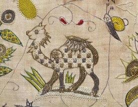 silk and silver thread embroidery panel of a camel, c.1600-1625 V&A