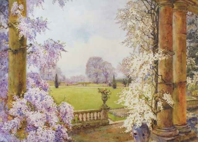 The garden entrance at Dyffryn, by Edith Adie, 1923 © Royal Horticultural Society