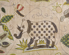 silk and silver thread embroidery panel of an elephant, c.1600-1625 V&A