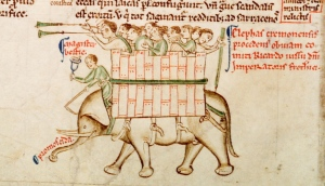 Elephant from Matthew Paris, Chronica maiora, Part II, Parker Library, MS 16, fol. 151v