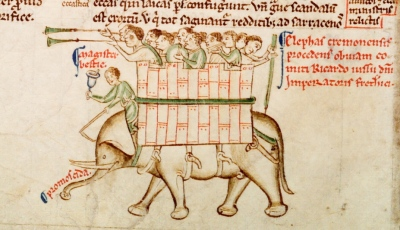Elephant from Matthew Paris, Chronica maiora, Part II, Parker Library, MS 16, fol. 151v