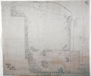 Survey of the estate with block plan of the original house and plan of stables, with suggested alterations, Sept 1800. Sir John Soane Museum