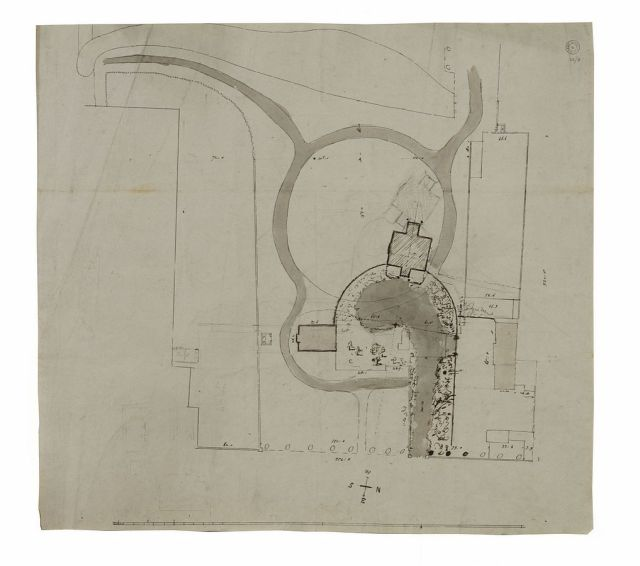 Plan of the estate as it was at the time of Soane's purchase, with block plan for a new house sited in alternative locations , August 1800,  Sir John Spane's Museum