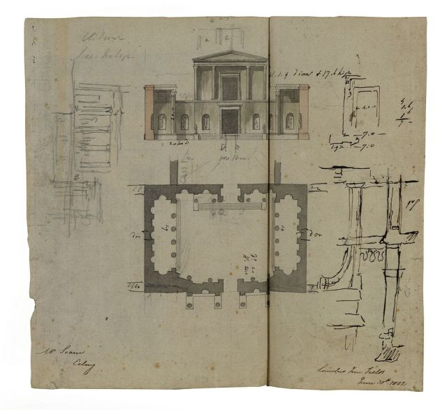 Plan of the ruins, courtyard and elevation/section of the temple front with some rough studies, June 1802, Sir John Spoane's Museum