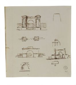 sketches by Soane for the design of the entrance gateway to Pitzhanger, 1800. Sir John Soane's Museum