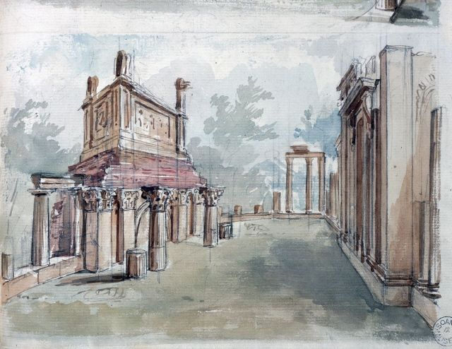 Perspective of the ruins adjacent to Pitzhanger Manor, from the east, Charles Richardson 1832 Sir John Soane's Museum shows a sarcophagus-like object, surmounting the triumphal arch structure, with tall finials at each corner, with canopy dome caps. It seems as if Soane was trying to suggest that the ruins were a source for, or even an integrated part of the architectural vocabulary for the rest of the house.