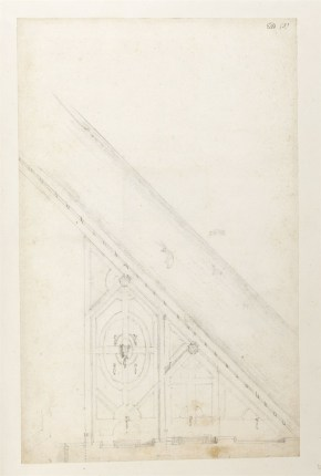 Nicholas Hawksmoor, Sketch plan for a revision to the layout of the southern half of the Privy Garden,  fronting the Thames, 1689 Sir John Soane's Museum