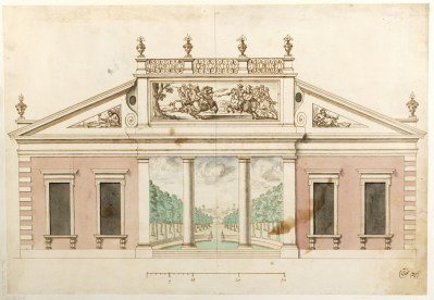 William Dickinson, Revised design for a pavilion on the bowling green, with perspective of vista through portico, 1700 Sir John Sane's Museum