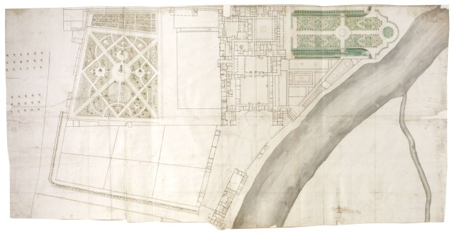 Henry Wise, Survey ground plan of Hampton Court Palace and its gardens , c.1710-11,