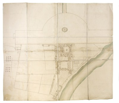 Large ground plan and survey plan of the palace and adjoining gardens, including the south end of the Great walk in Bushey parke, c.1710-11, Sir John Soane's Museum