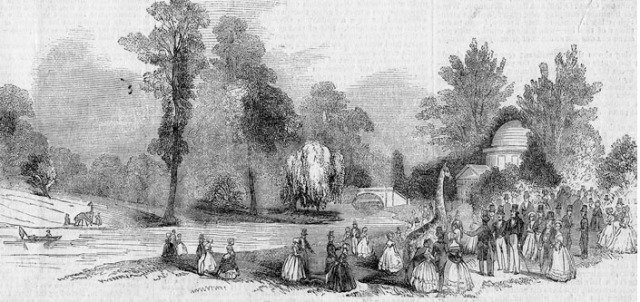 Giraffes on the lawn of Chiswick House in June 1844 (© Chiswick Public Library)