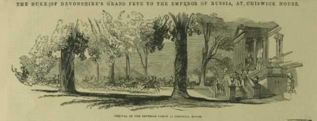 """""""The Duke of Devonshire's Grand Fete to the Emperor of Russia, at Chiswick House."""" Illustrated London News [London, England] 15 June 1844"""