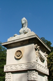 One of the restored sphinx gateposts at Chiswick David Marsh 2013