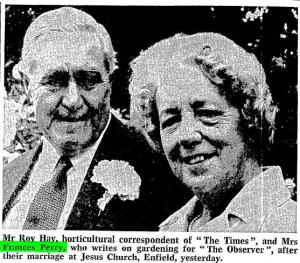 "Roy Hay and Frances Perry ""Picture Gallery."" Times [London, England] 28 July 1977: 16. The Times Digital Archive."