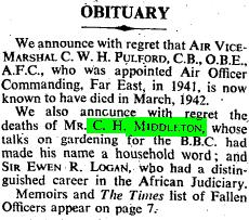 """Obituary."" Times [London, England] 19 Sept. 1945: 4. The Times Digital Archive. Web. 2 Aug. 2014."