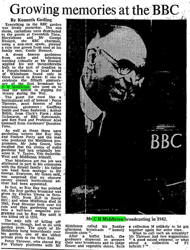 "Kenneth Gosling. ""Growing memories at the BBC."" Times [London, England] 15 July 1981: 14. The Times Digital Archive. Web. 2 Aug. 2014."