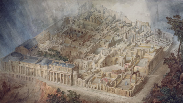 An imagined view of the Bank of England in ruins,  Joseph Michael Gandy 1830,  Sir John Soane's Museum
