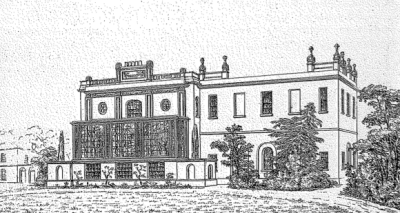View of the rear of the house, showing George Dance's wing with the addition of one bay. Plate VIII from Soane's Plans, elevations and perspecyive views of PItshanger Manor-house, 1832   Britsih Library