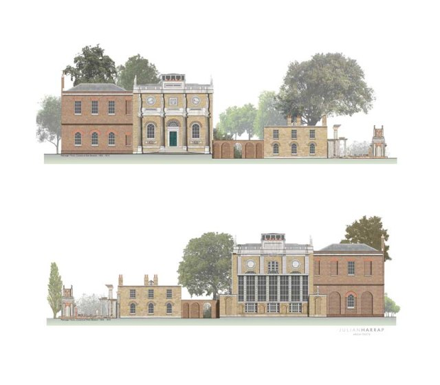 drawing selected for Royal Academy of Arts Summer Exhibition Pitzhanger Manor, Ealing; Conjectural East and West elevations as Sir John Soane, 1800-1810, Julain Harrap. http://www.e-architect.co.uk/architects/julian-harrap-architects