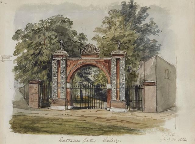 The gated entrance to Pitzhanger,  C.J. Richardson, 1832 Sir John Soane's Museum