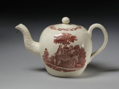 Teapot by Ralph Wedgwood, with a design based on 'The Tea Party' engraving by Robert Hancock, c.1790 V&A