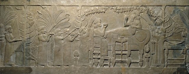 The 'Garden Party' relief from the North Palace of Ashurbanipal, Nineveh, Iraq, about 645 BC, Britsh Museum