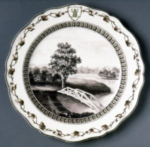 Dessert plate, of Queen's ware; with ogee edges; painted in black with a view of 'Mr Hopkins' Gardens, Painshill, Surrey', British Muserum
