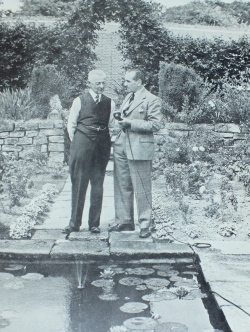 Streeter with Freddy Grisewood broadcasting from the sunken garden at Petworth, facing p.148, And Here is Mr Streeter, Geoffrey Eley, 1