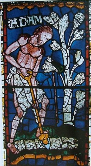 Adam delving,  Canterbury Cathedral, c.1176