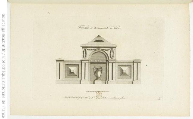Design for a garden seat from John Soane's Designs in architecture ; consisting of plans, elevations and sections, for temples, baths, cassines, pavilions, garden-seats, obelisks, and other buildings ; for decorating pleasure-ground, parks, forests, etc, 1778