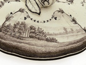 Detail of a tureen lid with a view of the rotunda at Stowe, taken from an engraving of 1752 Hermitage Museum