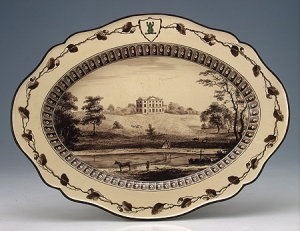 Oval dish with a view of Etruria Hall, Wedgwood's own home,  in Staffordshire