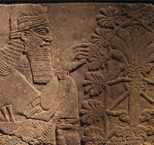 Relief of Winged Man-Headed Figure with Basket and Fircone, from Nimrud c.850BC Brooklyn Museum