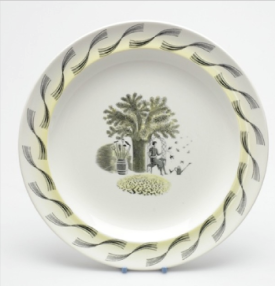 Dinner plate in the Garden range designed by Eric Ravilious, 1954 Wedgwood Museum