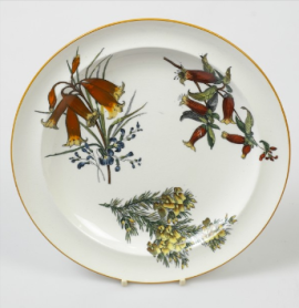 Plate decorated with printed and enamelled Australian Flora pattern.  c.1881, Wedgwood Museum