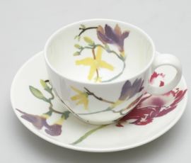 Tea cup and saucer from the Kensington Garden range designed by William Edwards, 1988