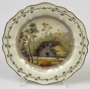 Dessert plate with a view of Hackfall, Yorkshire,  probably based on a drawing by Nicholas Dall c. 1774 Wedgwood Museum