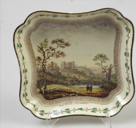 Square dish with a view of Stoke Gilford in Gloucestershire,  based on a drawing by Nicholas Dall c. 1774 Wedgwood Museum