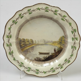 Dessert plate, hand painted in enamel colours with Welbeck in Nottinghamshire, c.1774